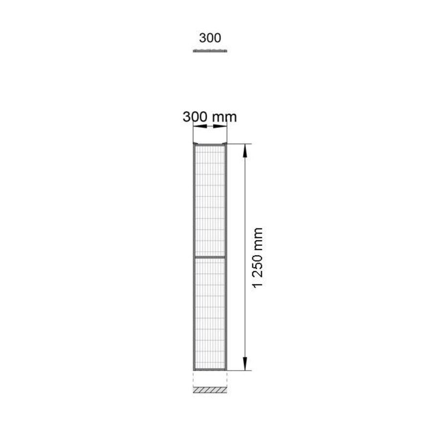 ST20 gecoat gaaspaneel 1400mm hoog in zwart (RAL 9005)