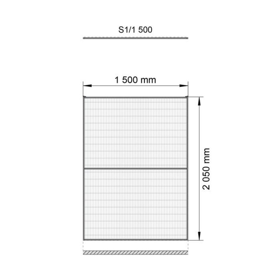 ST20 coated mesh panel 2200mm height in yellow (RAL 1018)