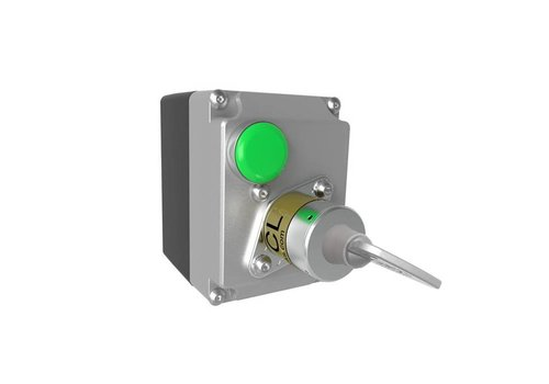 Solenoid controlled safety key switch in enclosure MSSR