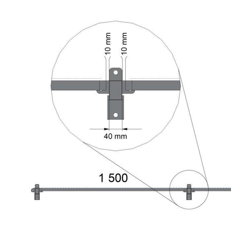 STPC polycarbonaat paneel 2200mm hoog met gecoat frame in zwart (RAL 9005)