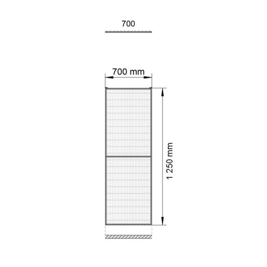 ST30 gecoat gaaspaneel 1400mm hoog in gijs (RAL 7037)