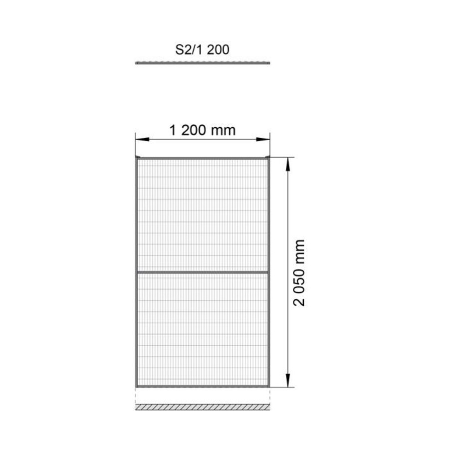 ST30 coated mesh panel 2200mm height in yellow (RAL 1018)