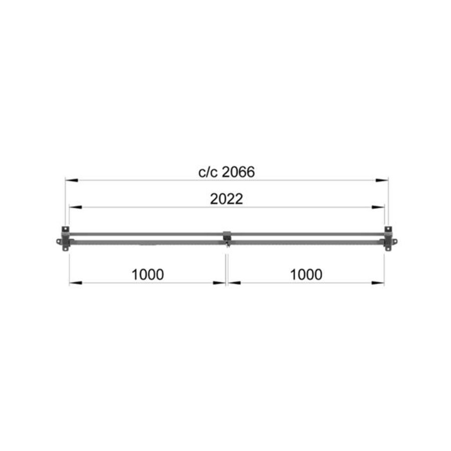 ST30 gecoate dubbele draaideur 2200mm hoog in grijs (RAL 7037)