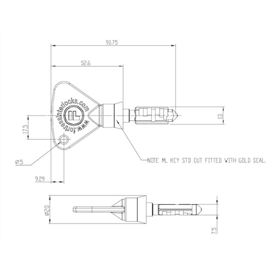 Coded key for trapped key interlock systems CLK-SUCS-Y