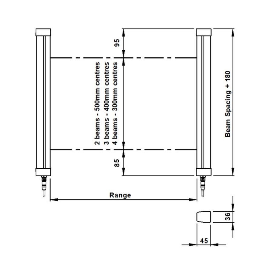 Typ 4 Sicherheitslichtschranke Mehrstrahl (4), 1000mm für Körperschutz MLG-4