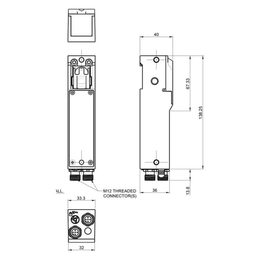 Robuster RFID Sicherheitsschalter mit Zuhatlung aus Metall mit Ball und Bügelgriff-Betätiger PLe