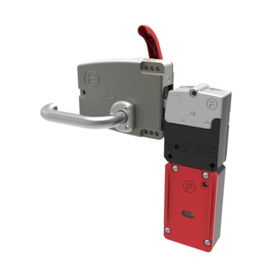 Sehr robuster Sicherheitsschalter mit Zuhatlung aus Metall mit Türgriff und Notentriegelung PLe