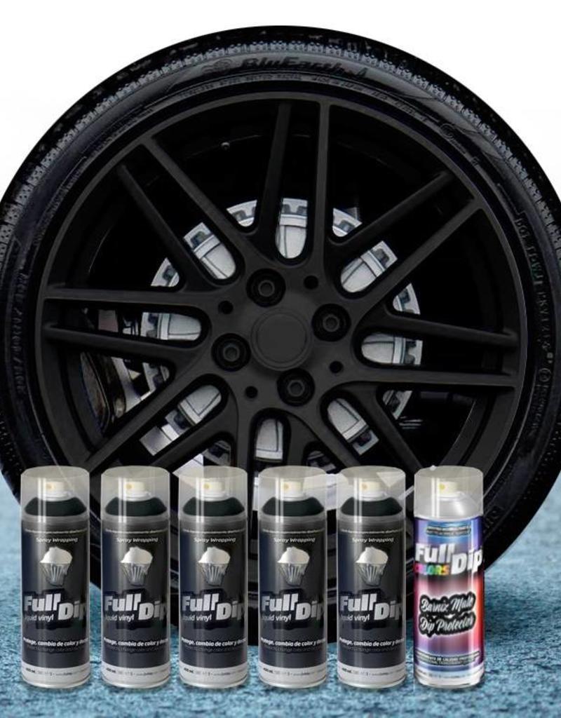 FullDip Velgenset zwart + 1K mat-satin coating