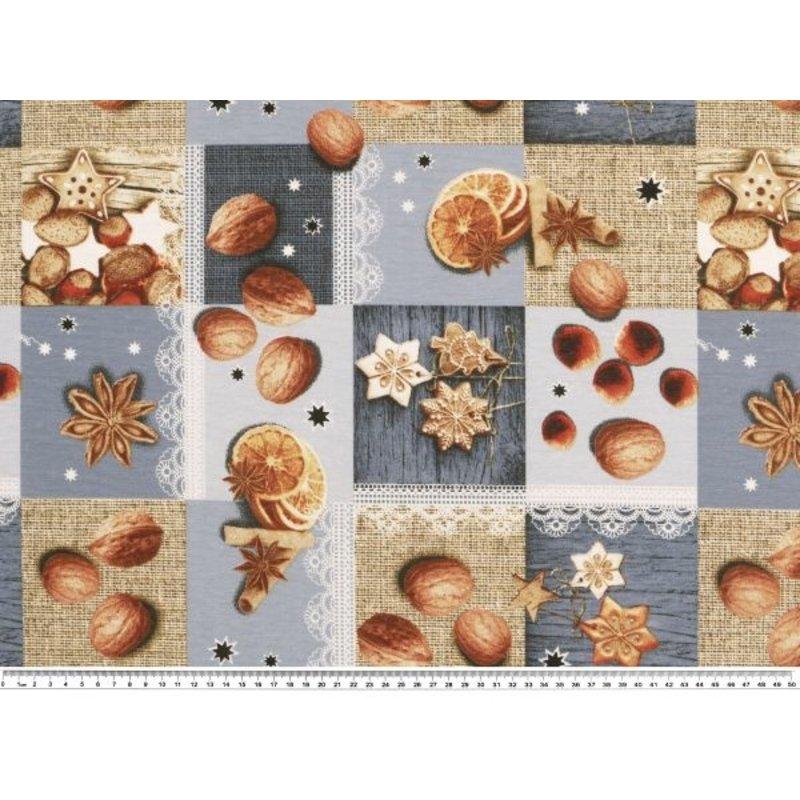 Baumwolle Stoff  Nüsse-Kekse