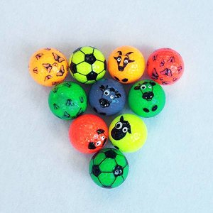 Assorted GlowGolf balls with funprint