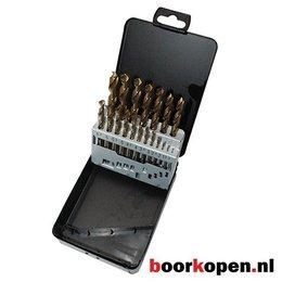 Cassette tin coated metaalboren 19 delig