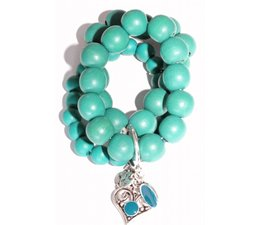 Lucky Boeddha Turquoise bracelet with heart