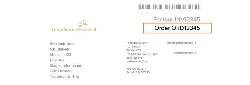 Voorbeeld ordernummer