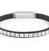 SECTOR SADP01 Rock armband in zwart leder met zilver kleurig edelstaal
