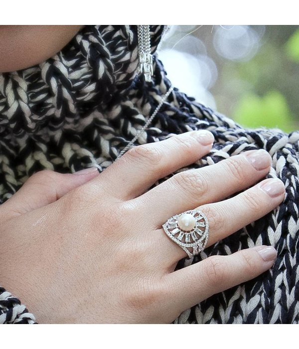 APM MONACO Pomelline - A17568XPL - ring - silver 925% - pearl - zirconium