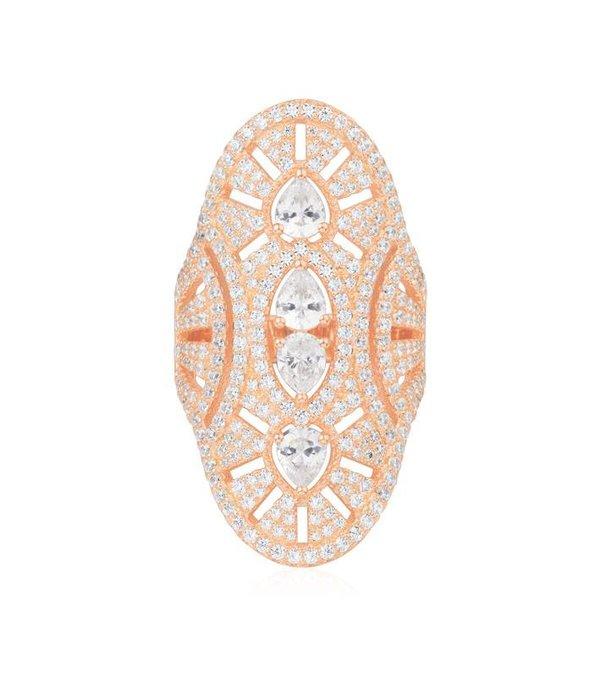 APM MONACO Weinlese - R17854OX - Ring - Kristall - rosa gefärbte