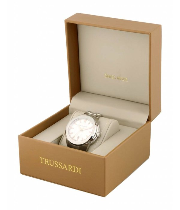 TRUSSARDI First R2451112003 - Men's watch - Leather - Silver - 43mm