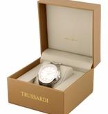 TRUSSARDI Sinfonia R2451107002 - horloge - swiss made - leer - zilver kleurig - 42mm