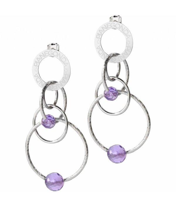 PIANEGONDA Cosmos - FP004003 - boucles d'oreilles de couleur -Purple - argent 925%