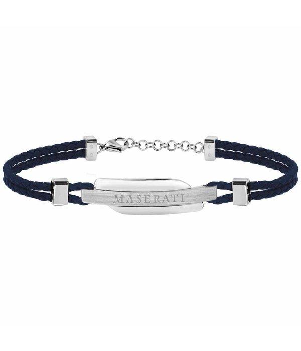MASERATI  JM417AKW06 -bracelet - Leder - Blau und Silber - 22 cm