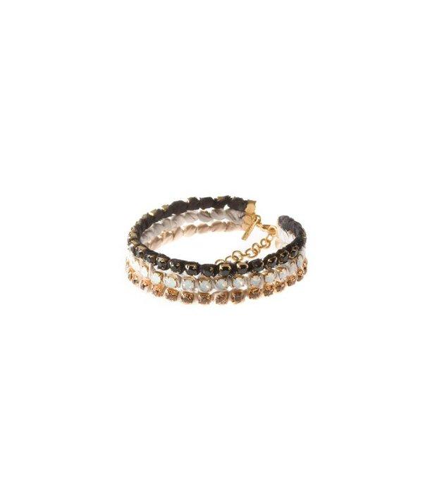 MAY mOma May Moma Armband SATIN PETIT op zijde mat 3 kleuren swarovski kristallen BSPZ002