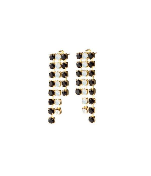 MAY mOma May Moma Oorringen BOUCLES SATIN BSC5 in zwarte en witte kristallen op brass
