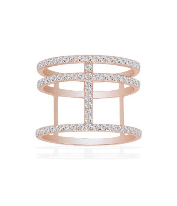 APM MONACO Ring Croisette R14726OX in rosé edelstaal met zirconium