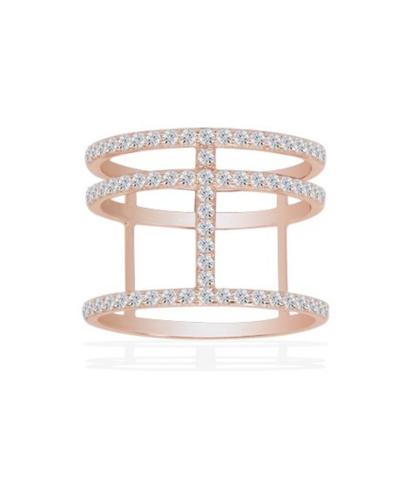 APM MONACO Ring Croisette R14726OX rose in stainless steel with zirconium