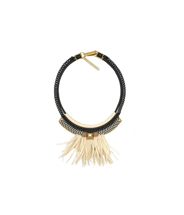 FIONA PAXTON Fiona Paxton necklace Elsa Cream ph001 in black and white feathers
