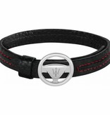 MASERATI  JM118AMC07 - bracelet - leather - black and rrod colored - 250mm