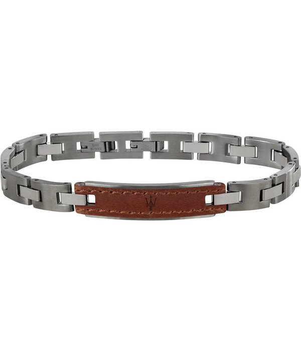 MASERATI  JM218AMD01 - armband - leer - zilverkleurig - 215mm