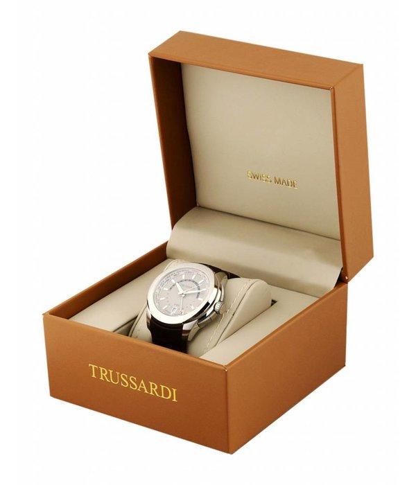TRUSSARDI Trussardi Synfonia R2451108504 - horloge - swiss made - leer - zilverkleurig - 34mm