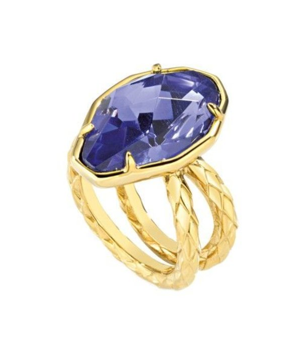 JUST CAVALLI Just Cavalli Just Hipnose RVS Ring met blauwe steen SCADU05