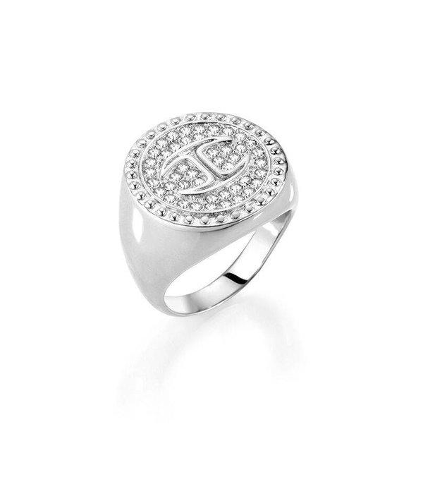 JUST CAVALLI Nur Veranstaltungs SCAEP09 Ring aus Edelstahl mit weißen Kristallen und Logo