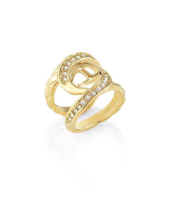 JUST CAVALLI Nur Hurrican SCAEN07 Ring in goldfarbenen Edelstahl mit Kristallen und Logo