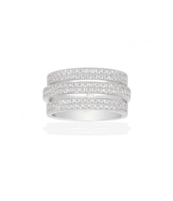 APM MONACO DOME RING A16244OX sterling silver with white crystals