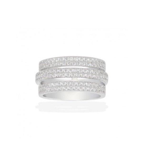 APM MONACO RING DOME A16244OX sterling zilver met witte kristallen
