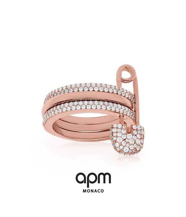 APM MONACO BabyXL R17064OX RING rosékleurig silver and crystal