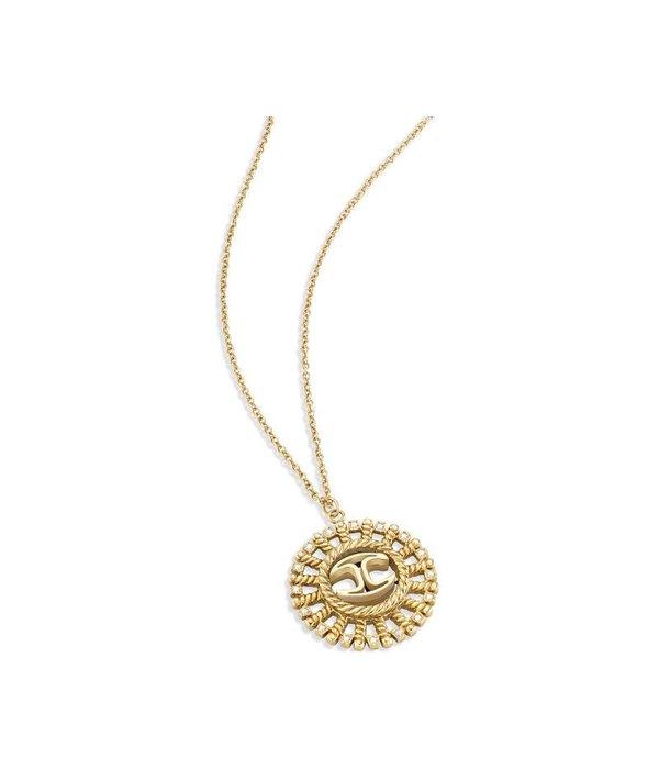 JUST CAVALLI Juste Collier SCAGB01 Soleil en edelstaaal d'or avec des cristaux
