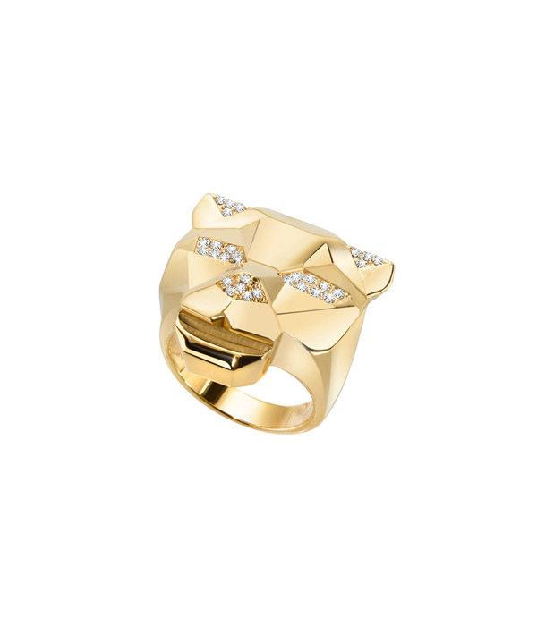 JUST CAVALLI RING JUST TIGER SCAHG04 in goud kleurig edelstaal met kristallen
