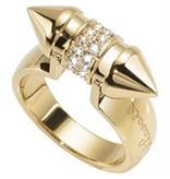 JUST CAVALLI JUSTE PIN SCAHF07 RING, acier inoxydable couleur or avec des cristaux
