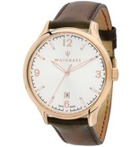 MASERATI  Attrazione R8851126002 men's watch, rosé-colored with brown leather strap