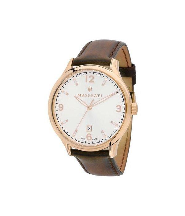 MASERATI  Attrazione R8851126002 heren horloge, rosé kleurig met bruin leder band