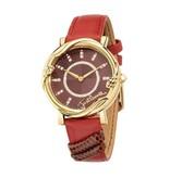 JUST CAVALLI R7251551503 Just Mirage dames horloge , goud kleurig met rood leder band