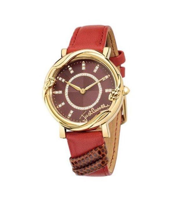 JUST CAVALLI dames R7251551503 Juste Mirage regarder, or avec bracelet en cuir rouge