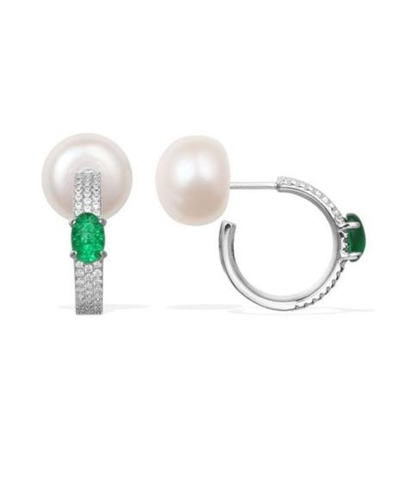 APM MONACO AE9586XGPL earrings MENTHE A L'EAU IN SILVER WITH PEARL AND GREEN CRYSTALS