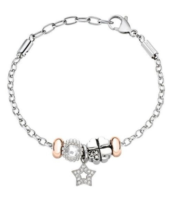 MORELLATO SCZ786 DROPS CHARM BRACELET IN SILVER AND ROSE COLORED STAINLESS STEEL WITH CRYSTAL