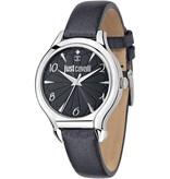 JUST CAVALLI R7251533505 Just Fushion dames horloge met zwart leder band