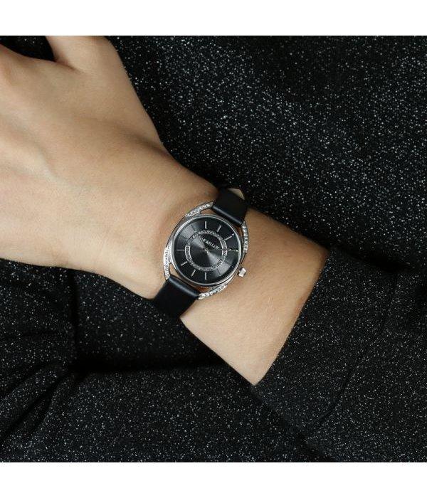 MORELLATO R0151137505 Tivoli Damenuhr mit schwarzem Lederarmband und krsitallen