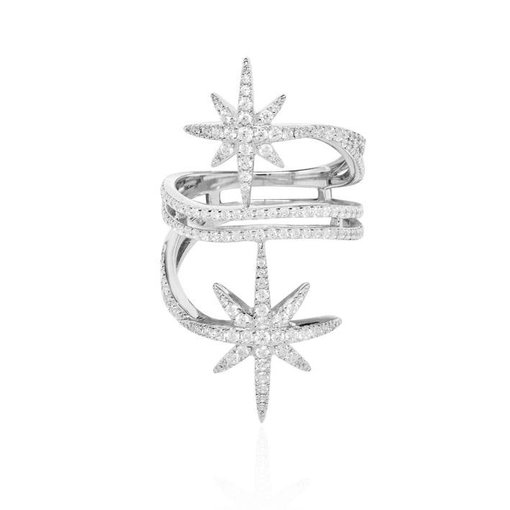 APM MONACO A17080OX RING Meteorites in silver with crystal